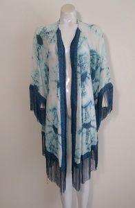 3for$60 fringe tiedye maxi duster kimono jacket